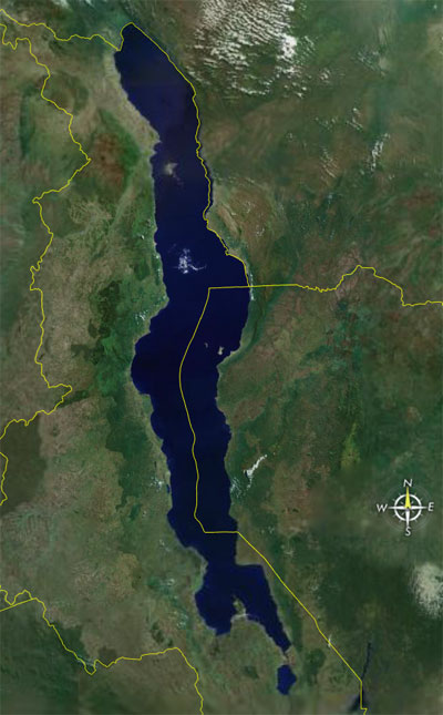 Photo satellite du lac Malawi - source google